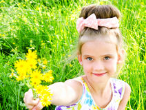Adorable smiling little girl on the meadow with flowers Stock Images