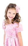 Adorable smiling little girl in pink princess dress Royalty Free Stock Image