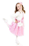 Adorable smiling little girl in pink princess dress isolated Royalty Free Stock Images