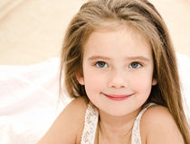 Adorable smiling little girl waked up Royalty Free Stock Photography