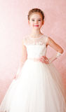 Adorable smiling little girl in white princess dress Royalty Free Stock Photo