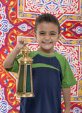 Adorable Smiling Young Boy with Ramadan Lantern Stock Photography