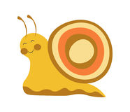 Adorable snail with colorful shell and long antennae. Adorable snail with colorful shell, smooth yellow body, closed eyes, friendly smile, round cheeks and long vector illustration