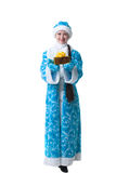 Adorable Snow Maiden with gift, isolated on white Royalty Free Stock Image