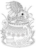 Adorable squirrel adult coloring page Royalty Free Stock Image