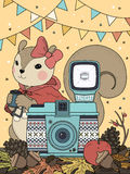 Adorable squirrel coloring page. With camera elements Royalty Free Stock Photography