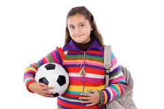 Adorable student girl with soccer ball Stock Photo