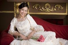 Adorable sweet asian bride 1. Adorable sweet smiling asian bride Royalty Free Stock Photos