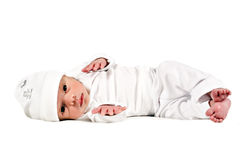 Adorable sweet new born baby on white Stock Photography