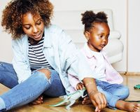 adorable sweet young afro-american mother with cute little daugh royalty free stock photo
