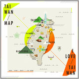 Adorable Taiwan travel map royalty free illustration