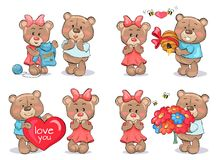 Adorable Teddy Bears Couples Exchange Presents. Adorable teddy bears couples, female in dress and male in T-shirt, exchange presents on Valentines day isolated Stock Image