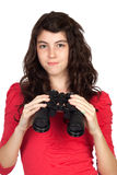 Adorable teen girl with binoculars Royalty Free Stock Image