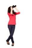 Adorable teen girl with binoculars Stock Image