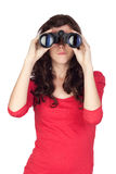 Adorable teen girl with binoculars Stock Photos
