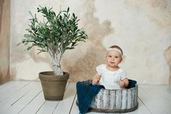 Adorable Ten month old newborn baby girl sitting in a wooden bucket. old baby in bedroom. father& x27;s day. father and daughter. Adorable Ten month old newborn stock photos