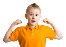 Adorable ten years old boy with funny face expression Royalty Free Stock Images