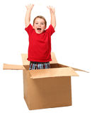 Adorable Three Year Old in Box royalty free stock photos