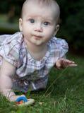 Adorable toddle en un césped en un parque Imagenes de archivo