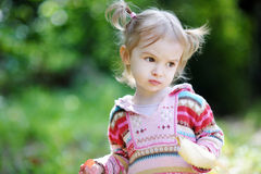 Adorable toddler in an autumn park Royalty Free Stock Image
