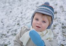 Adorable toddler boy on beautiful winter day Stock Images