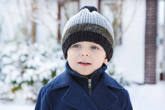 Adorable toddler boy on beautiful winter day Royalty Free Stock Image