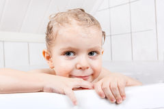 Adorable toddler boy having fun in bathtub Royalty Free Stock Photography