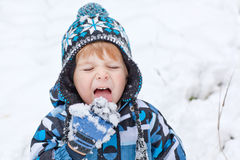Adorable toddler boy having fun with snow Royalty Free Stock Photo