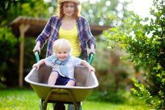 Adorable toddler boy having fun in a wheelbarrow pushing by mum in domestic garden on warm sunny day Stock Image