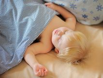 Adorable toddler boy sleeping. In a bed Stock Images