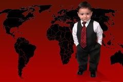 Adorable Toddler Boy In Suit Standing On The World royalty free stock image