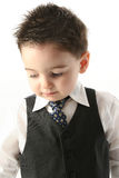 Adorable Toddler Boy In Vest and Tie. Close-up of toddler boy in business suit (vest and tie) and spiked hair. Shot in studio over white Royalty Free Stock Photography
