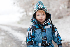 Adorable toddler boy  on winter day Royalty Free Stock Photography
