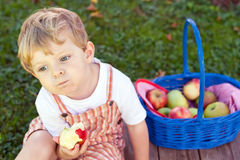Adorable toddler eating fresh apple Royalty Free Stock Photography