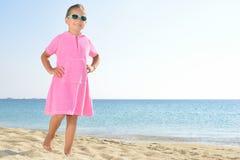 Adorable toddler girl at beach Stock Photos