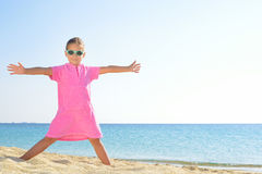 Adorable toddler girl at beach Royalty Free Stock Images
