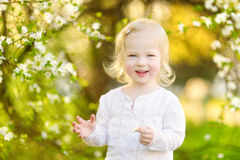 Adorable toddler girl in blooming cherry garden Royalty Free Stock Image