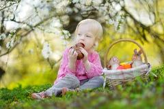 Adorable toddler girl eating chocolate bunny Royalty Free Stock Photos