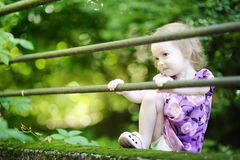 Adorable toddler girl on a green background Stock Image