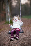 Adorable toddler girl having fun on a swing Royalty Free Stock Images