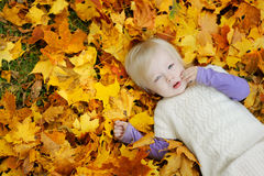 Adorable toddler girl laying on maple leaves Royalty Free Stock Photo