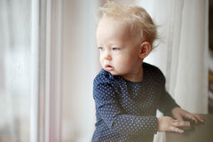 Adorable toddler girl looking through the window Stock Image