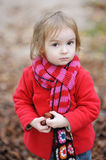 Adorable toddler girl outdoors on autumn day Royalty Free Stock Images