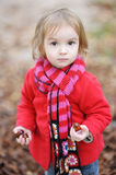 Adorable toddler girl outdoors on autumn day Royalty Free Stock Image