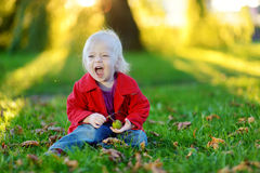 Adorable toddler girl playing with a chestnut Stock Photography