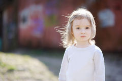 Adorable toddler girl portrait outdoors Royalty Free Stock Photos
