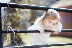 Adorable toddler girl portrait outdoors Royalty Free Stock Photo