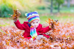 Adorable toddler girl with red leaves in autumn park Royalty Free Stock Photos