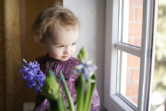 Adorable toddler girl sitting by the window Royalty Free Stock Photography