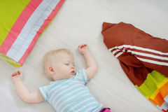 Adorable toddler girl sleeping. In a bed Stock Photo